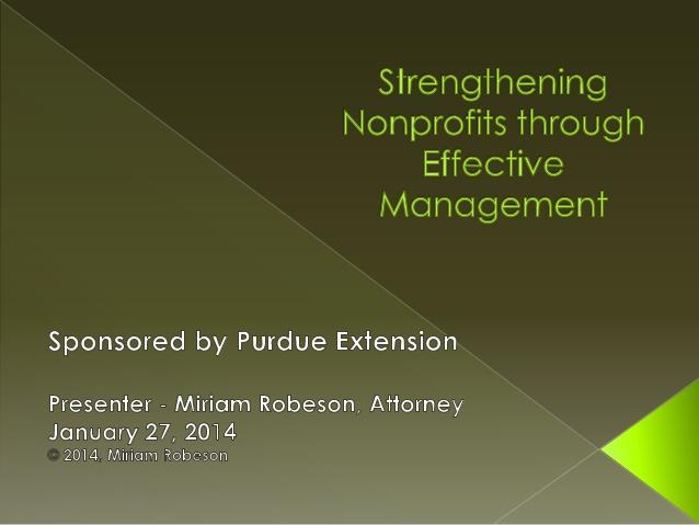 Strengthening Nonprofits through Effective Management